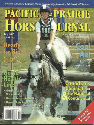 My first cover shot:  Canadian eventing team member, Samantha Taylor, on Livewire.
